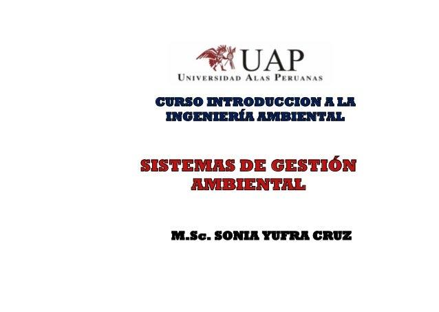 CURSO INTRODUCCION A LA INGENIERÍA AMBIENTAL SISTEMAS DE GESTIÓN AMBIENTAL M.Sc. SONIA YUFRA CRUZ