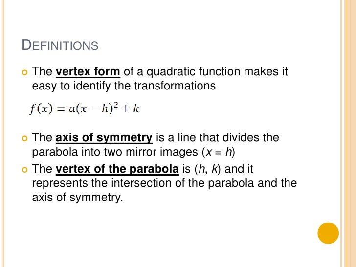 4.1 quadratic functions and transformations