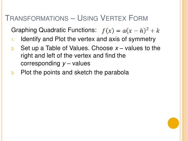 41 Quadratic Functions And Transformations