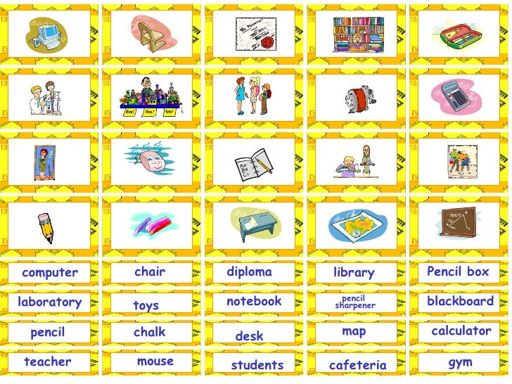 library Pencil box students notebook map blackboard cafeteria gym computer chair diploma laboratory toys pencil desk teach...
