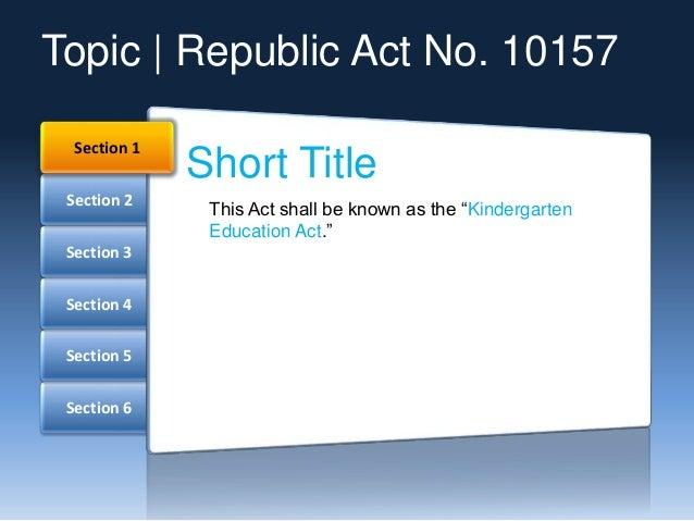 Kindergarten Education Act Slide 2