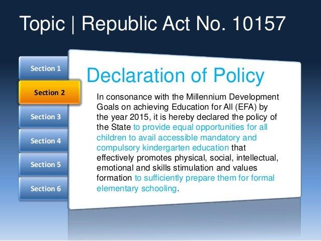 Kindergarten Education Act Slide 3