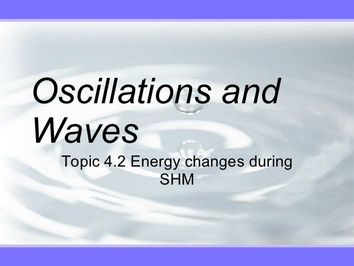 Oscillations and Waves Topic 4.2 Energy changes during SHM