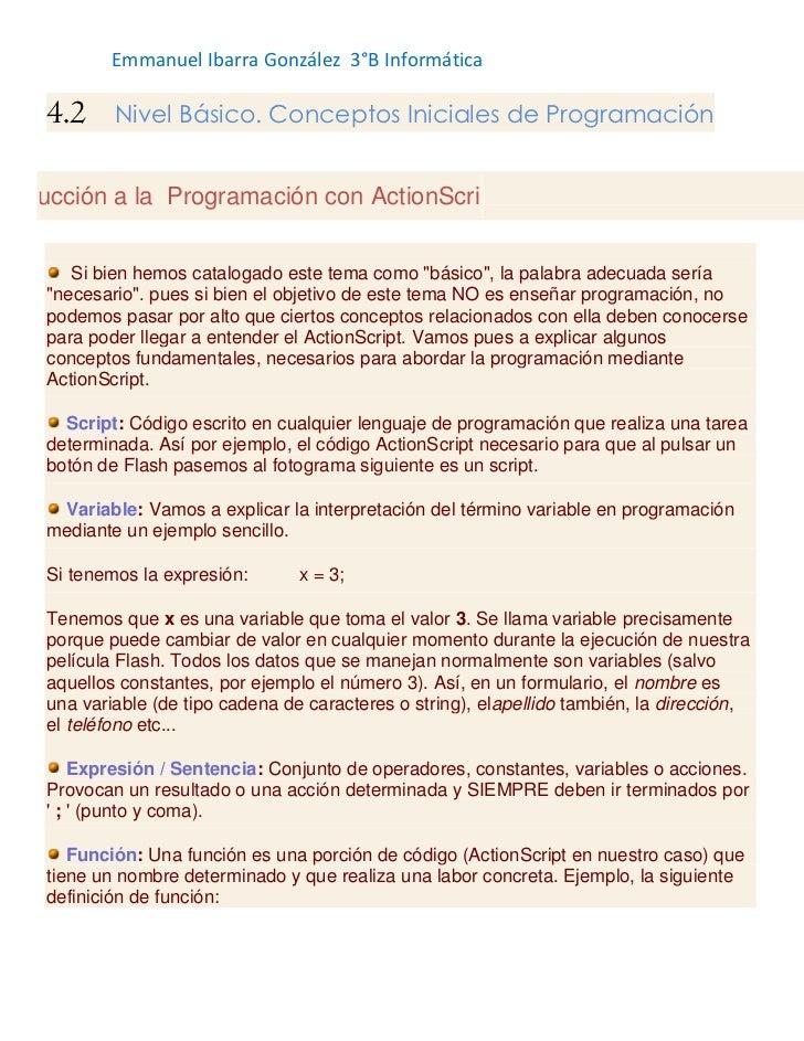 Emmanuel Ibarra González 3°B Informática    4.2     Nivel Básico. Conceptos Iniciales de Programacióntroducción a la Progr...
