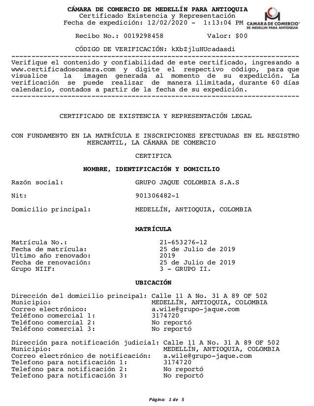 C�MARA DE COMERCIO DE MEDELL�N PARA ANTIOQUIA Certificado Existencia y Representaci�n Fecha de expedici�n: 12/02/2020 - 1:...