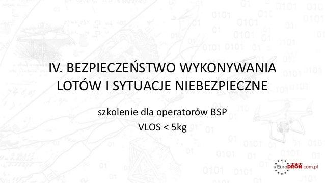 IV. BEZPIECZEŃSTWO WYKONYWANIA LOTÓW I SYTUACJE NIEBEZPIECZNE szkolenie dla operatorów BSP VLOS < 5kg