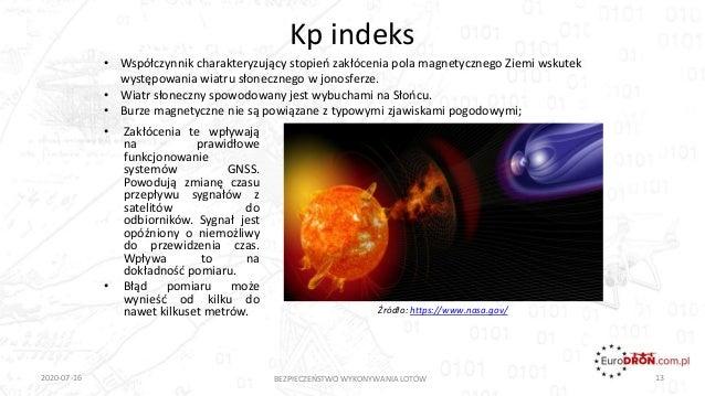 Kp indeks • Zakłócenia te wpływają na prawidłowe funkcjonowanie systemów GNSS. Powodują zmianę czasu przepływu sygnałów z ...