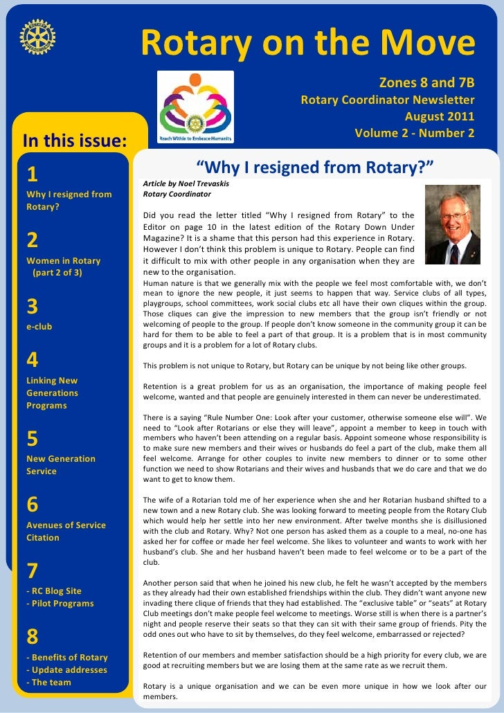 Rotary on the Move                                                                                             Zones 8 and...