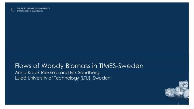 Flows of Woody Biomass in TIMES-Sweden Anna Krook Riekkola and Erik Sandberg Luleå University of Technology (LTU), Sweden 1