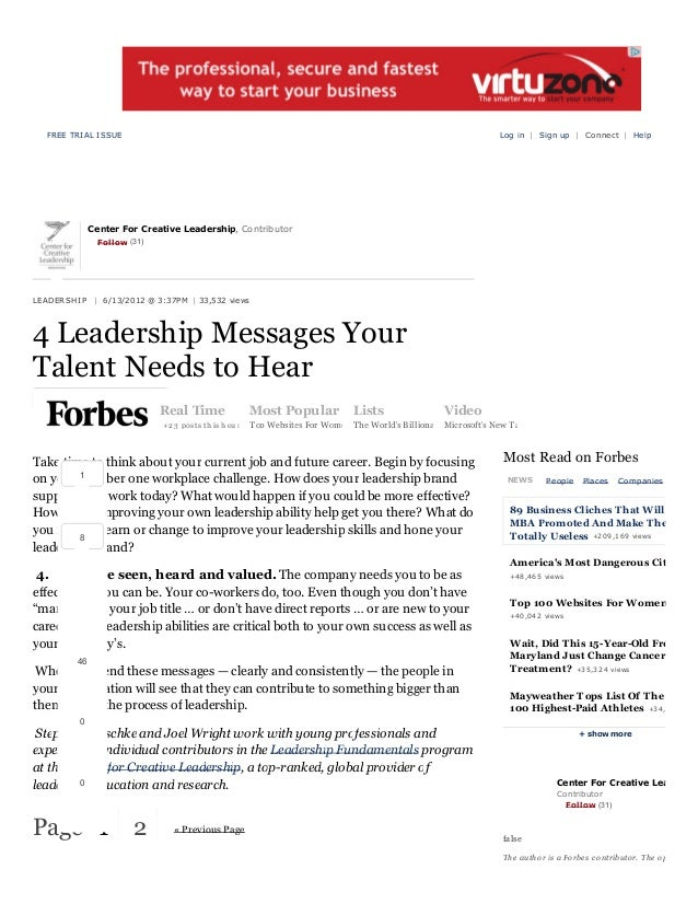FREE TRIAL ISSUE  Log in | Sign up | C onnect | Help  Center For Creative Leadership, Contributor Follow (31)  L EA D ER S...