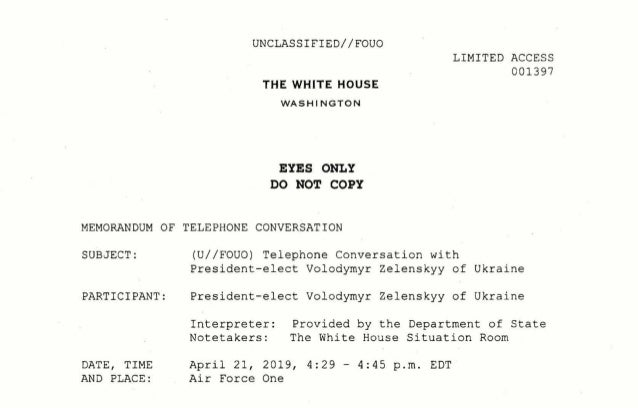UNCLASSIFIED//FOUO THE WHITE HOUSE WA SH INGTON EYES ONLY DO NOT COPY LIMITED ACCESS 001397 MEMORANDUM OF TELEPHONE CONVER...