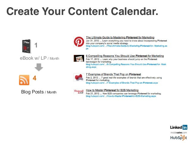 Create Your Content Calendar.! 4 Blog Posts / Month	    FB Posts / Month	    8 1 eBook w/ LP / Month