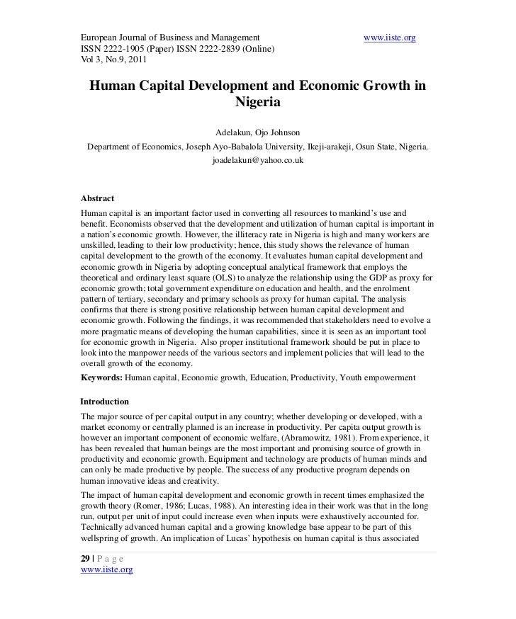 Human Capital Development And Economic Growth The Nigeria ...