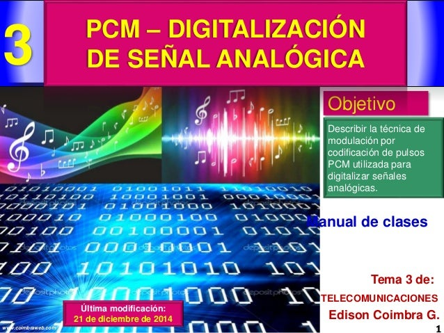 1www.coimbraweb.com Edison Coimbra G. TELECOMUNICACIONES Tema 3 de: Manual de clases Objetivo Describir la técnica de modu...