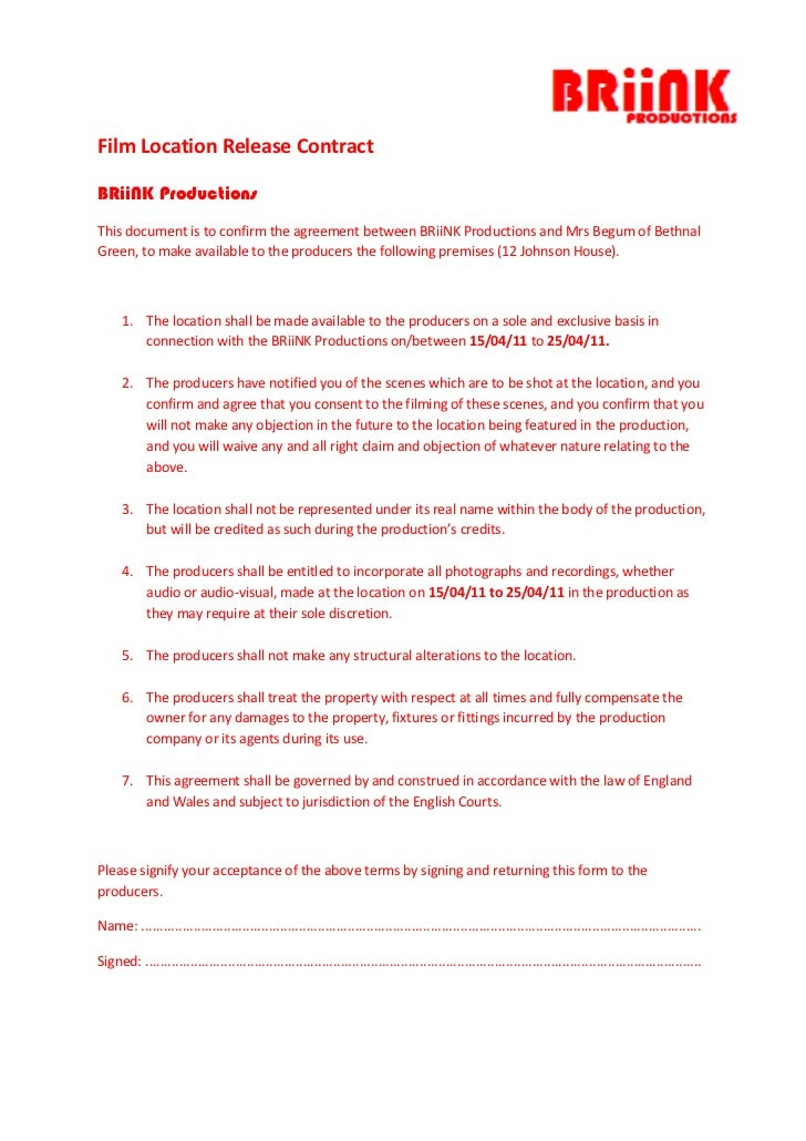 4143375-381000<br />Film Location Release Contract<br />BRiiNK Productions<br />This document is to confirm the agreement ...
