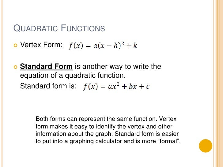 42 Standard Form Of A Quadratic Function Part 1