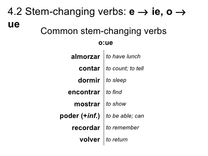 4.2 Stem changing verbs e to ie, o to ue