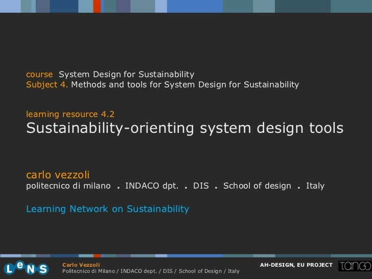 course System Design for SustainabilitySubject 4. Methods and tools for System Design for Sustainabilitylearning resource ...
