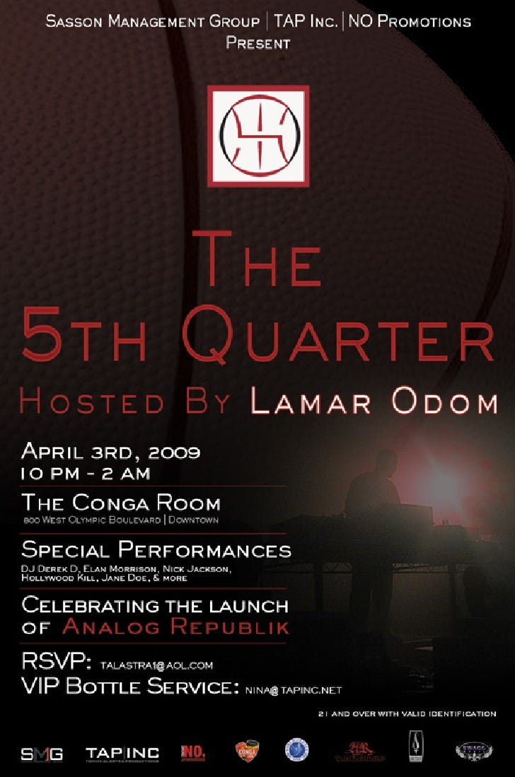 """Flyer for the event """"The 5th Quarter"""""""