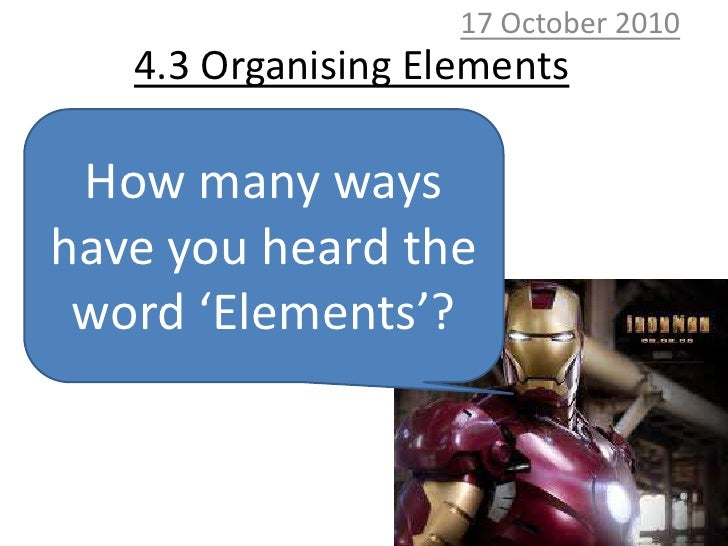 10 October 2010<br />4.3 Organising Elements<br />How many ways have you heard the word 'Elements'?<br />