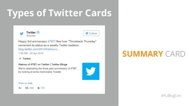 Types of Twitter Cards #FLBlogCon SUMMARY CARD