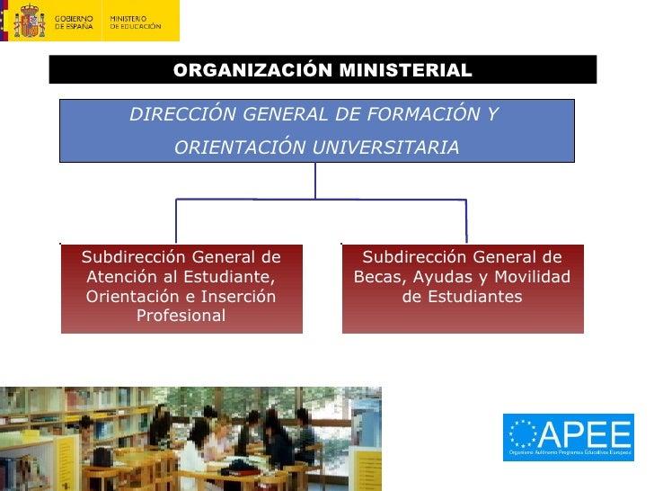 ORGANIZACIÓN MINISTERIAL DIRECCIÓN GENERAL DE FORMACIÓN Y  ORIENTACIÓN UNIVERSITARIA Subdirección General de Becas, Ayudas...