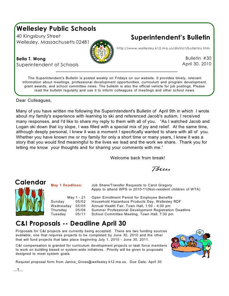Wellesley Public Schools   40 Kingsbury Street                                                Superintendent's Bulletin   ...