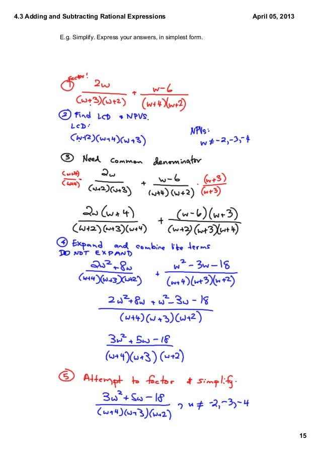 4.3 Adding & Subtracting Rational Expressions