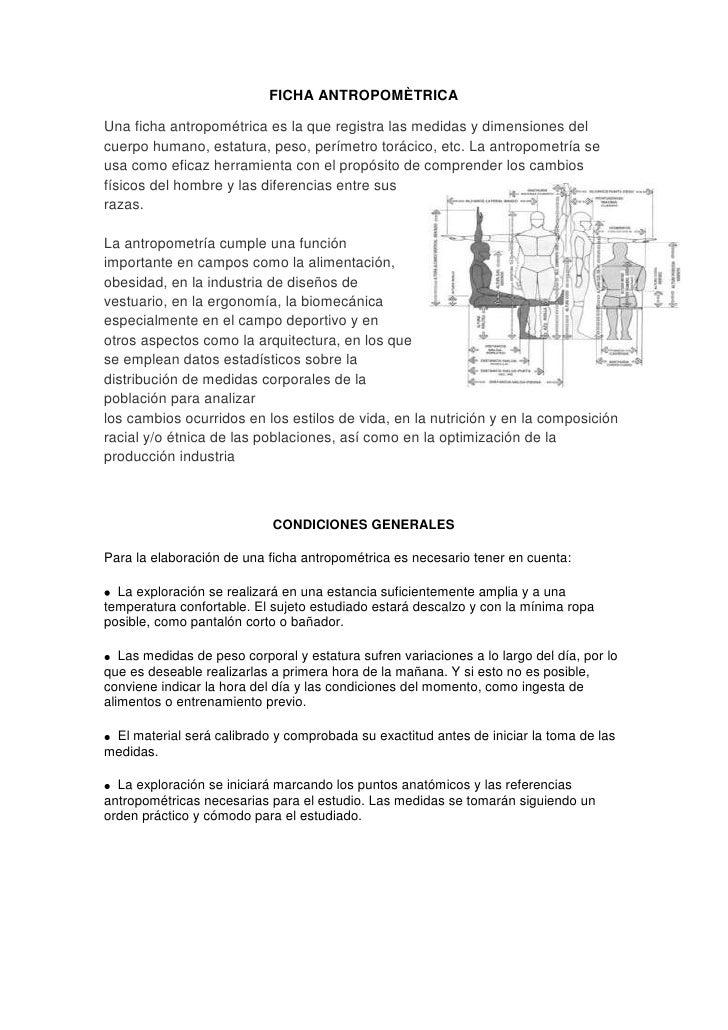 FICHA ANTROPOMÈTRICA<br />3368040671830Una ficha antropométrica es la que registra las medidas y dimensiones del cuerpo hu...