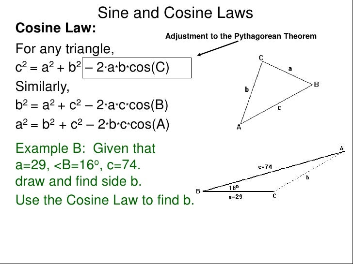 how to use sine and cosine rule