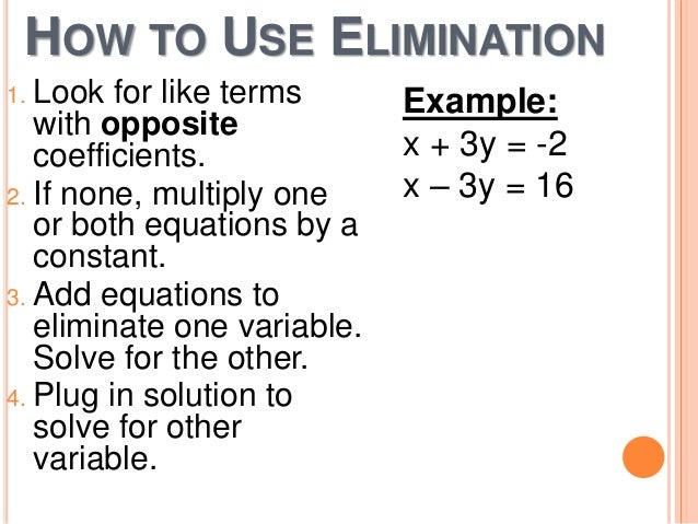 4 3 solving linear systems by elimination