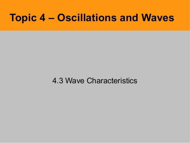 Topic 4 – Oscillations and Waves4.3 Wave Characteristics