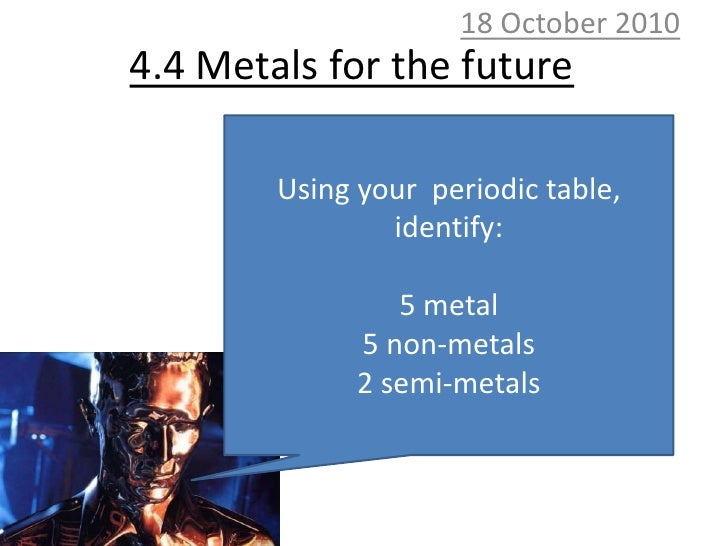 10 October 2010<br />4.4 Metals for the future<br />Using your  periodic table, identify:<br />5 metal<br />5 non-metals<b...