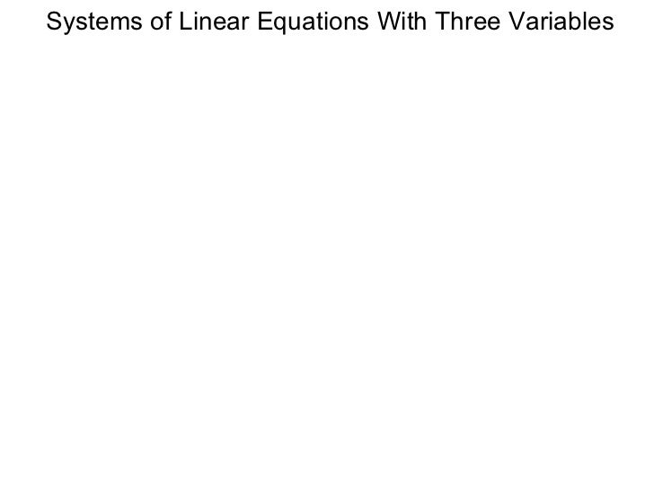 Systems of Linear Equations With Three Variables