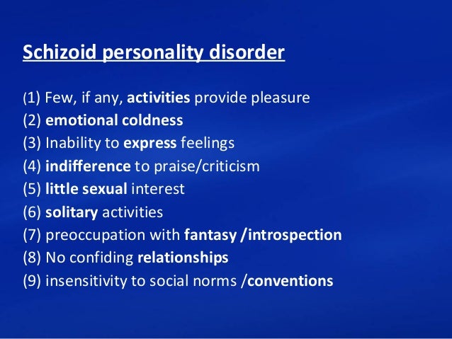 Dating with schizoid personality disorder
