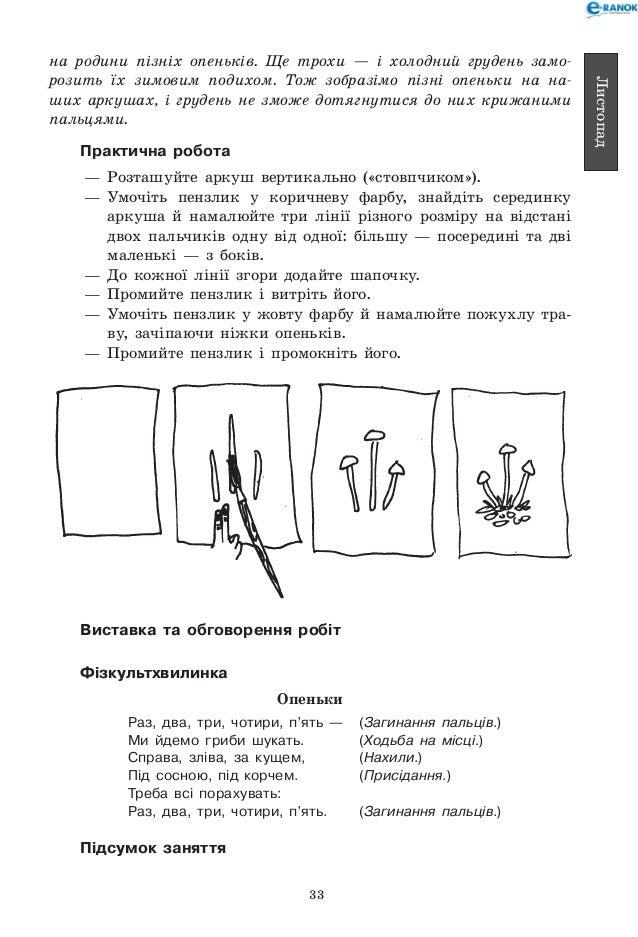 План-конспект малювання гриби