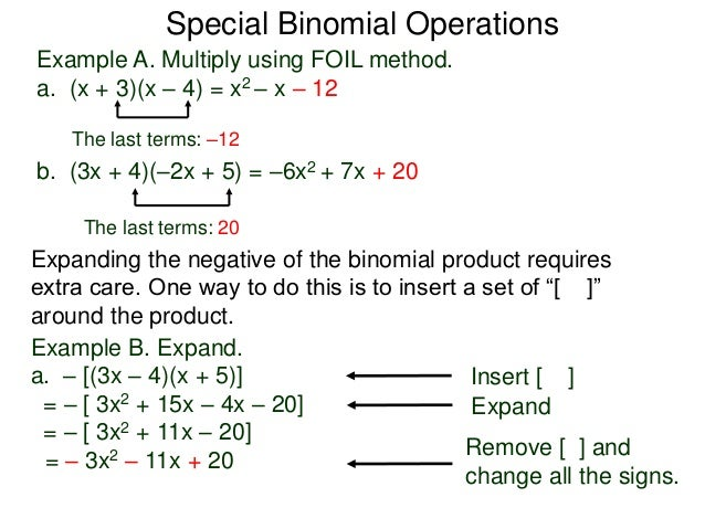 4 5special Binomial Operations