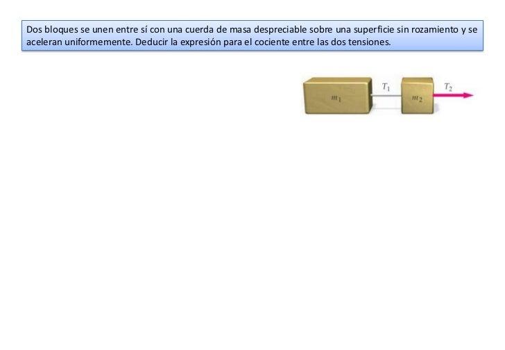 Dos bloques se unen entre sí con una cuerda de masa despreciable sobre una superficie sin rozamiento y seaceleran uniforme...