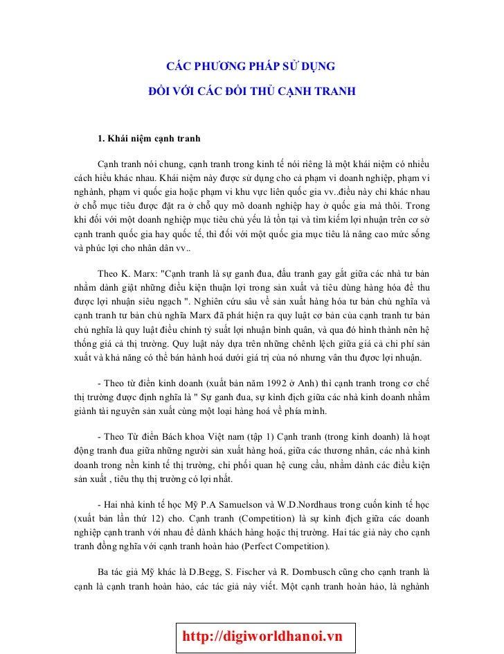 CÁC PHƯƠNG PHÁP SỬ DỤNG                    ĐỐI VỚI CÁC ĐỐI THỦ CẠNH TRANH         1. Khái niệm cạnh tranh        Cạnh tran...
