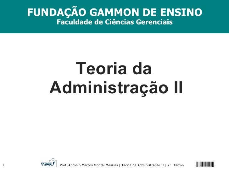 Teoria da  Administração II FUNDAÇÃO GAMMON DE ENSINO Faculdade de Ciências Gerenciais