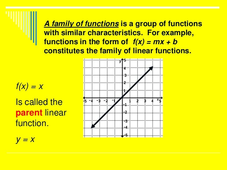 A family of functions is a group of functions           with similar characteristics. For example,           functions in ...