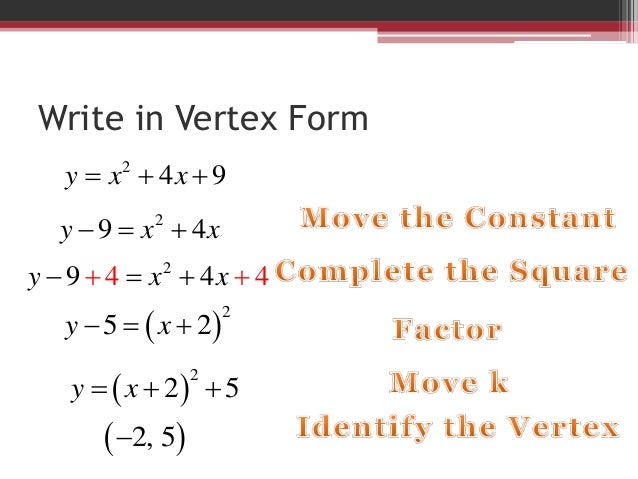 4.7 write in vertex form