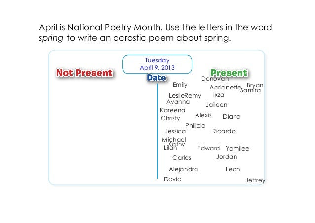 April is National Poetry Month. Use the letters in the wordspring to write an acrostic poem about spring.                 ...