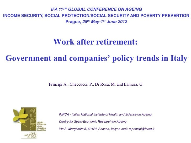 IFA 11TH GLOBAL CONFERENCE ON AGEINGINCOME SECURITY, SOCIAL PROTECTION/SOCIAL SECURITY AND POVERTY PREVENTION             ...