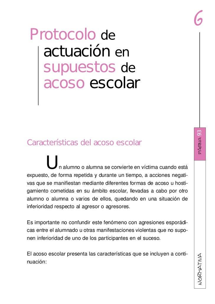 6 Protocolo de   actuación en   supuestos de   acoso escolar                                                              ...