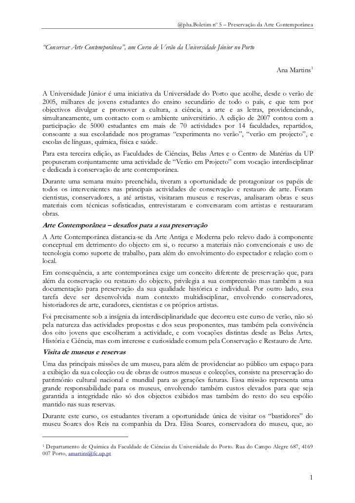 """@pha.Boletim nº 5 – Preservação da Arte Contemporânea""""Conservar Arte Contemporânea"""", um Curso de Verão da Universidade Jún..."""