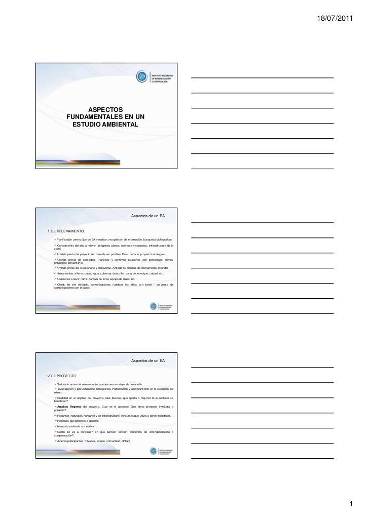 18/07/2011                  ASPECTOS             FUNDAMENTALES EN UN              ESTUDIO AMBIENTAL                       ...