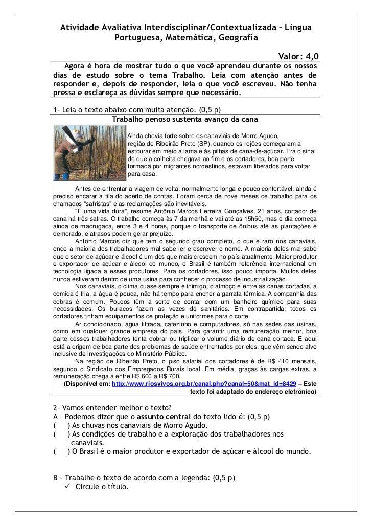 Atividade Avaliativa Interdisciplinar/Contextualizada – Língua               Portuguesa, Matemática, Geografia            ...