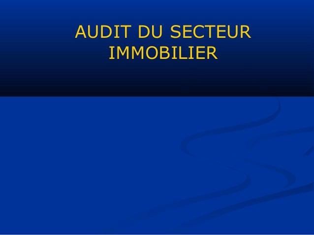AUDIT DU SECTEUR IMMOBILIER