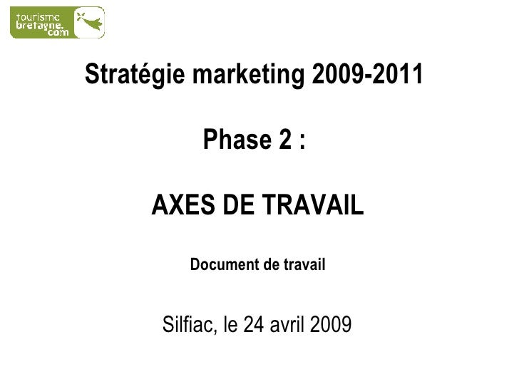 Stratégie marketing 2009-2011   Phase 2 :  AXES DE TRAVAIL Document de travail Silfiac, le 24 avril 2009